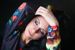 Portrait of pretty brunette in flower Sweatshirts. Swag girl. Fa Stock Image