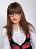 Portrait of pretty brunette girl in glasses speacs Stock Image