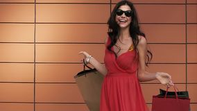 Portrait of pretty brunette with her shopping bags smiling to the camera stock footage