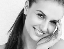 Portrait of a pretty brunette lady royalty free stock images