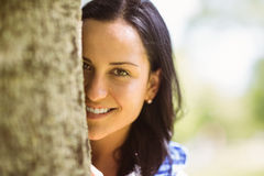 Portrait of a pretty brunette leaning against a tree Royalty Free Stock Photos