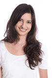 Portrait - Pretty brunette smiling at camera isolated on white b Royalty Free Stock Image