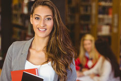 Portrait of a pretty brunette student holding books stock photos