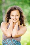 Portrait of pretty brunette woman Stock Photo