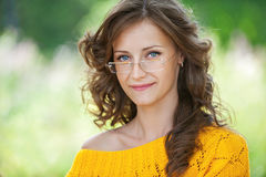 Portrait of pretty brunette woman Royalty Free Stock Photos