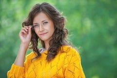 Portrait of pretty brunette woman Royalty Free Stock Photos