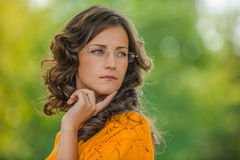 Portrait of pretty brunette woman Royalty Free Stock Photography