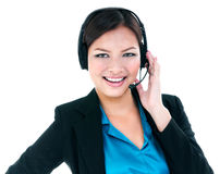 Pretty Businesswoman With Headset Stock Images