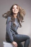 Portrait of Pretty Caucasian Brunette Woman Royalty Free Stock Photos