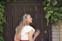 Good-looking girl posing outdoors stock photos