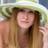 Portrait of pretty cheerful woman Stock Photos