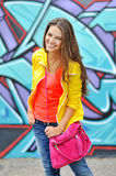 Portrait of pretty cheerful young woman Royalty Free Stock Photos