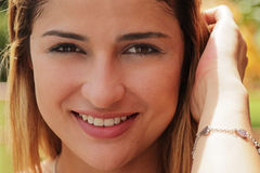 Portrait Pretty Colombian Girl Looking At Camera Smiling Stock Image