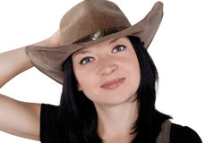 Portrait of a pretty cowgirl isolated Stock Image