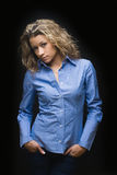Portrait of pretty curly woman Stock Photo