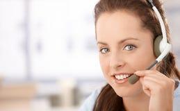 Portrait of pretty dispatcher with headphones stock photos