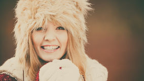 Portrait of pretty fashion woman in fur winter hat Royalty Free Stock Images