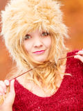 Portrait of pretty fashion woman in fur winter hat Stock Photo