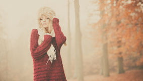 Portrait of pretty fashion woman in fur winter hat Stock Images