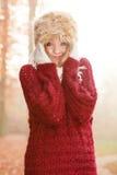 Portrait of pretty fashion woman in fur winter hat Royalty Free Stock Image
