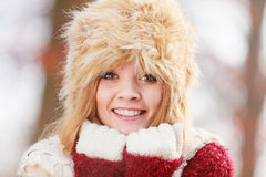 Portrait of pretty fashion woman in fur winter hat Royalty Free Stock Photos