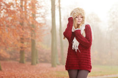 Portrait of pretty fashion woman in fur winter hat Royalty Free Stock Image