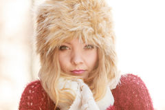 Portrait of pretty fashion woman in fur winter hat Royalty Free Stock Photography