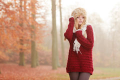 Portrait of pretty fashion woman in fur winter hat Stock Photos