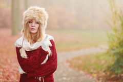 Portrait of pretty fashion woman in fur winter hat Royalty Free Stock Photo