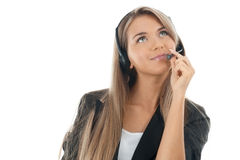 Portrait of a pretty female call center employee Stock Photography
