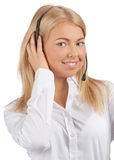 Portrait of a pretty female call center employee Royalty Free Stock Image