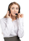 Portrait of a pretty female call center employee Stock Photos