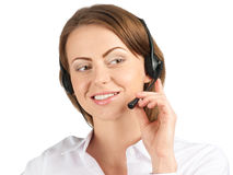 Portrait of a pretty female call center employee Stock Images