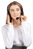 Portrait of a pretty female call center employee Royalty Free Stock Photos