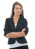Portrait of a pretty female call center employee Stock Photo