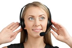 Portrait of a pretty female call center employee Royalty Free Stock Images