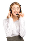 Portrait of a pretty female call center employee Royalty Free Stock Photo