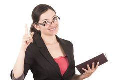 Portrait of pretty female teacher wearing glasses Stock Photography