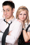 Portrait of pretty funny student pair. Isolated Royalty Free Stock Image