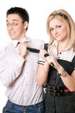 Portrait of pretty funny student pair. Isolated Stock Photo