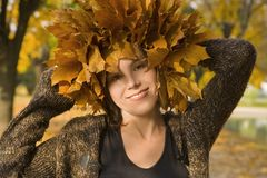 Portrait of pretty girl. In the late of autumn Stock Image