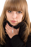 Portrait of pretty girl in black overcoat Royalty Free Stock Image