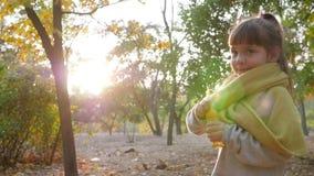 Portrait of pretty girl blowing soap bubbles in sunlight on nature autumn. Portrait of pretty little girl blowing soap bubbles in sunlight on nature autumn stock video footage