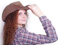 Portrait of pretty girl in a cowboy hat Stock Photos
