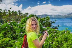 Portrait Pretty girl in Dominican Republic. Portrait of Young pretty girl in Dominican Republic on background of amazing tropical nature Royalty Free Stock Image