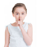Portrait of a pretty girl with a finger near the lips. Stock Photography
