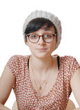 Portrait of a pretty girl with glasses and fur hat Stock Image