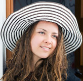Portrait of pretty girl in hat Stock Photos