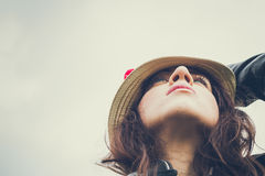 Portrait of a pretty girl with hat Royalty Free Stock Photography
