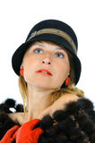 Portrait of pretty girl in hat and red gloves Royalty Free Stock Image